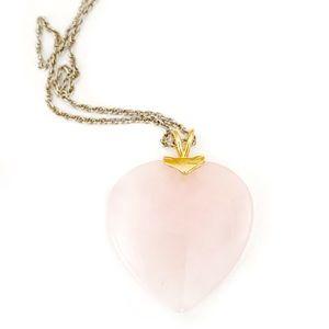 Rose Quartz Heart Pendant Necklace